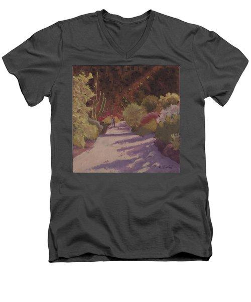 A Walk  On A  Sonoran Desert Road Men's V-Neck T-Shirt