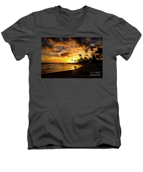 A Walk On The Beach Men's V-Neck T-Shirt