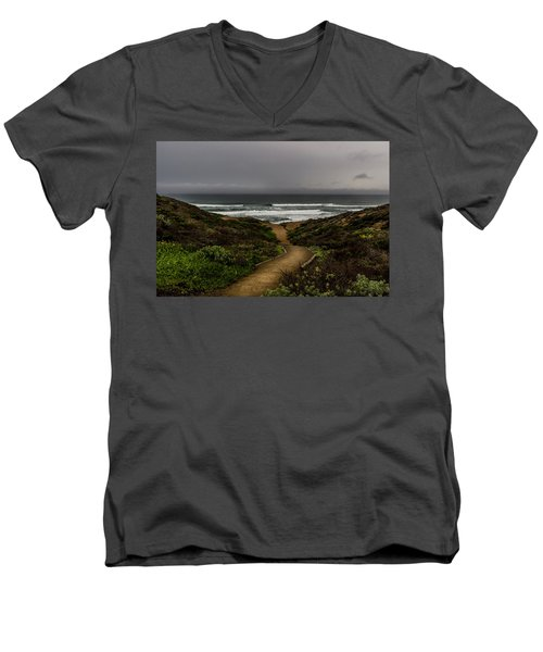 A Walk To The Beach Men's V-Neck T-Shirt