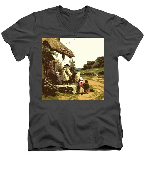 A Walk With The Grand Kids Men's V-Neck T-Shirt by Digital Art Cafe