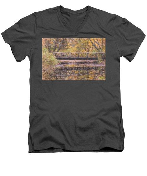 A Walking Bridge Reflection On Peaceful Flowing Water. Men's V-Neck T-Shirt