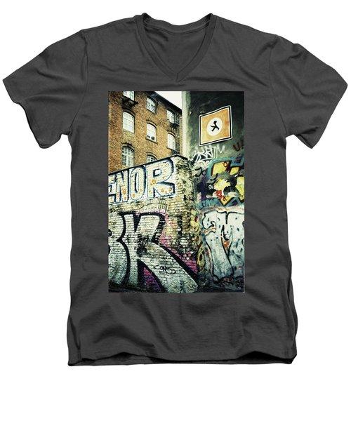 A Wall Of Berlin With Graffiti Men's V-Neck T-Shirt