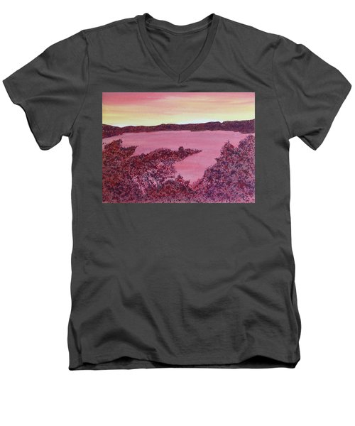 Men's V-Neck T-Shirt featuring the painting A Wee Bit O Heaven  by Joel Deutsch