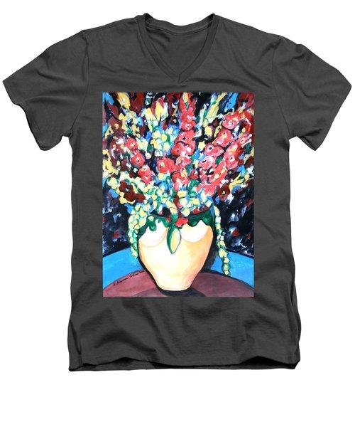 A Welcoming Bouquet Men's V-Neck T-Shirt by Esther Newman-Cohen