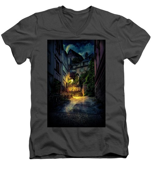 Men's V-Neck T-Shirt featuring the photograph A Wet Evening In Marburg by David Morefield