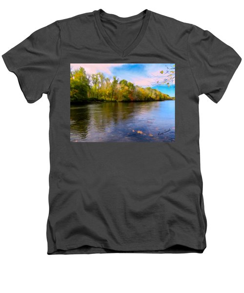 A Wide Scenic View Of Shetucket River. Men's V-Neck T-Shirt