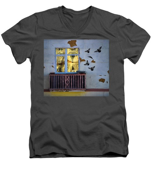 Men's V-Neck T-Shirt featuring the photograph A Window by Vladimir Kholostykh