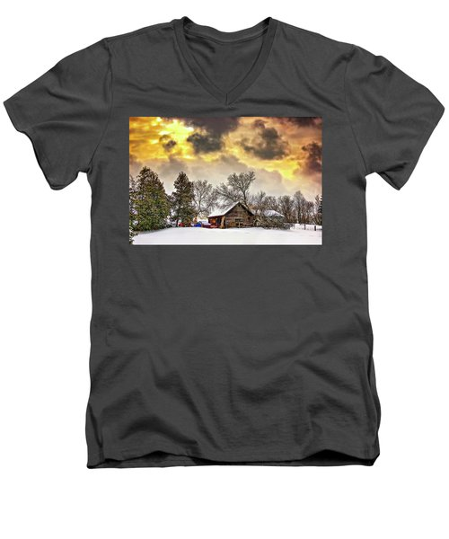 A Winter Sky Men's V-Neck T-Shirt by Steve Harrington