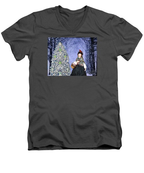 Men's V-Neck T-Shirt featuring the digital art A Winter Walk by Lyric Lucas