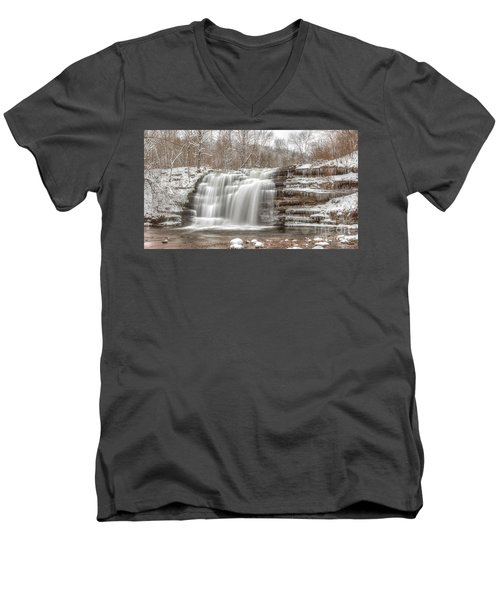 A Winter Waterfall - Color Men's V-Neck T-Shirt