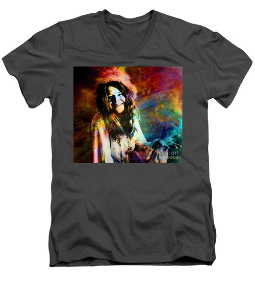 A Woman Of 1970 Rock And Roll Men's V-Neck T-Shirt by Annie Zeno