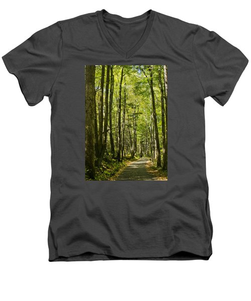 Men's V-Neck T-Shirt featuring the photograph A Woodsy Trail by Wanda Krack