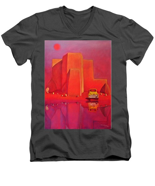 Men's V-Neck T-Shirt featuring the painting A Yellow Truck With A Red Moon In Ranchos by Art West