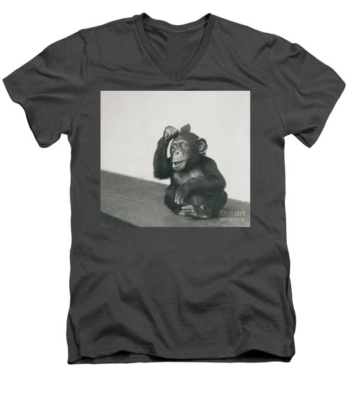 A Young Chimpanzee Playing With A Brush Men's V-Neck T-Shirt