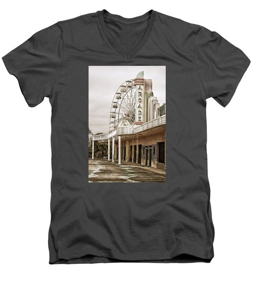 Men's V-Neck T-Shirt featuring the photograph Abandoned Arcade And Ferris Wheel by Andy Crawford