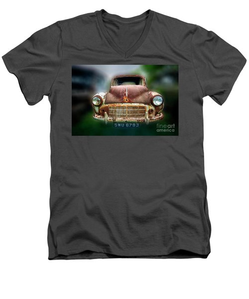 Men's V-Neck T-Shirt featuring the photograph Abandoned Car by Charuhas Images