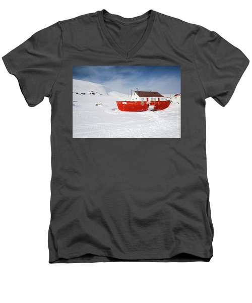 Abandoned Fishing Boat Men's V-Neck T-Shirt by Nick Mares