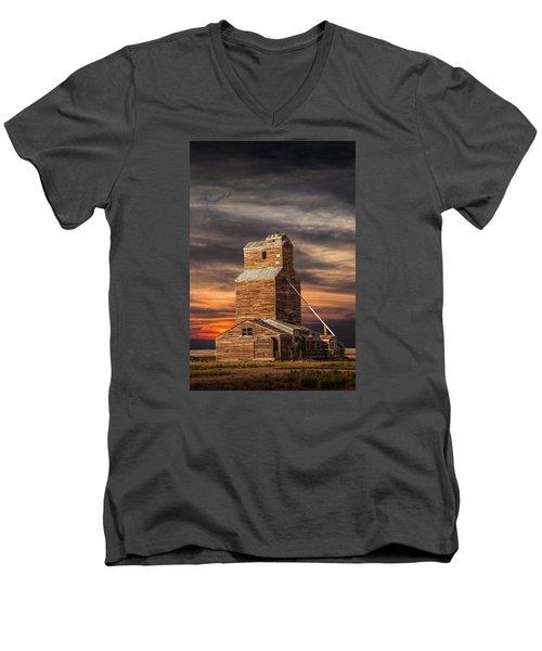 Abandoned Grain Elevator On The Prairie Men's V-Neck T-Shirt by Randall Nyhof