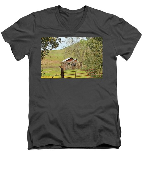 Men's V-Neck T-Shirt featuring the photograph Abandoned Homestead by Art Block Collections