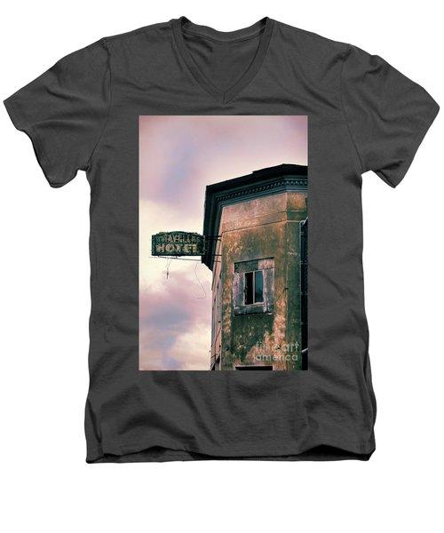 Men's V-Neck T-Shirt featuring the photograph Abandoned Hotel by Jill Battaglia