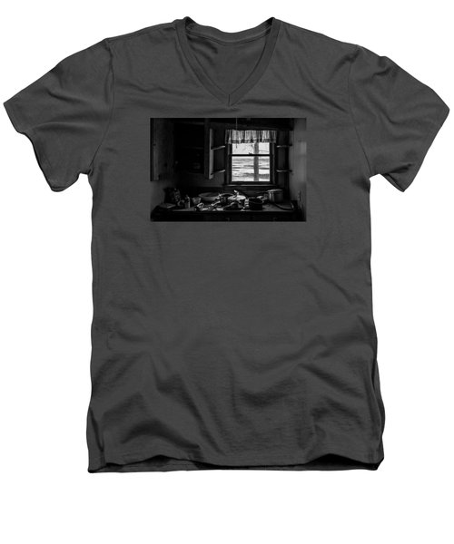 Men's V-Neck T-Shirt featuring the photograph Abandoned Kitchen by Dan Traun