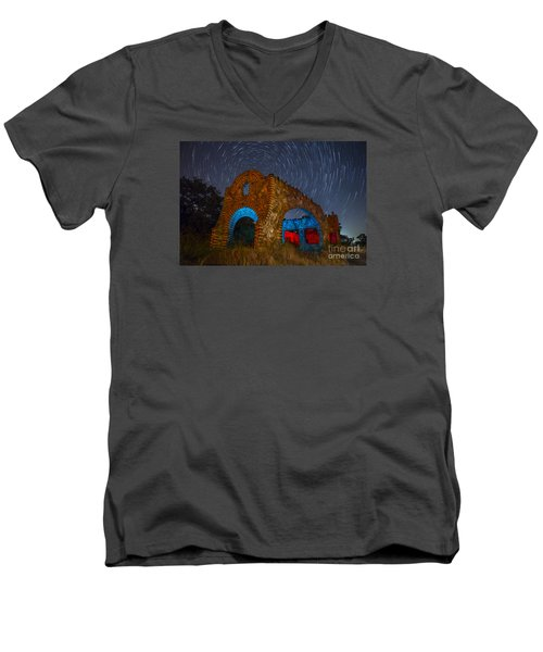 Abandoned Outlaw Gas Station Men's V-Neck T-Shirt by Keith Kapple