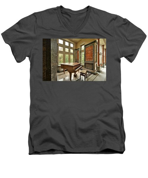 Abandoned Piano - Urban Exploration Men's V-Neck T-Shirt by Dirk Ercken