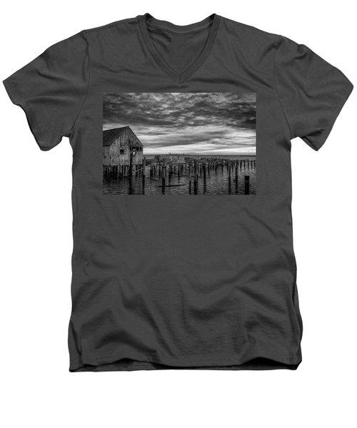 Abandoned Pier Men's V-Neck T-Shirt by David Cote