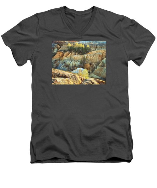 Men's V-Neck T-Shirt featuring the photograph Abandoned Quarry 2 by Vladimir Kholostykh