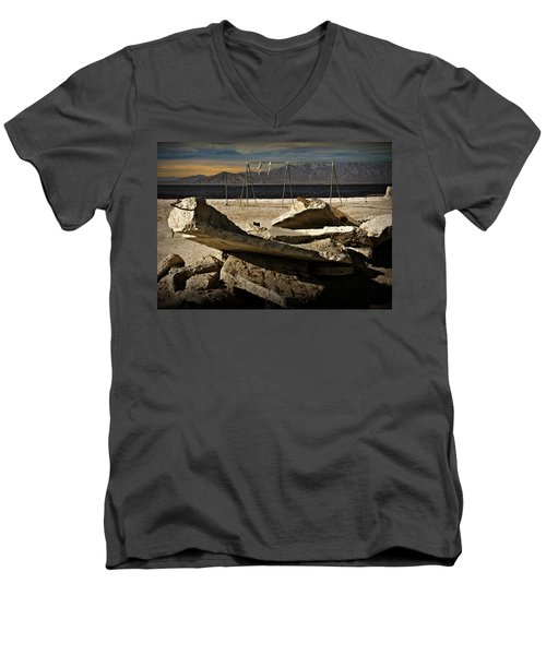 Men's V-Neck T-Shirt featuring the photograph Abandoned Ruins On The Eastern Shore Of The Salton Sea by Randall Nyhof