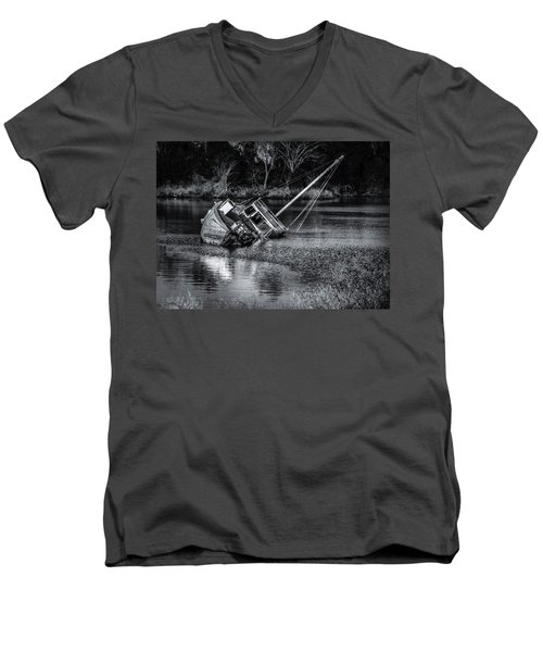 Abandoned Ship In Monochrome Men's V-Neck T-Shirt