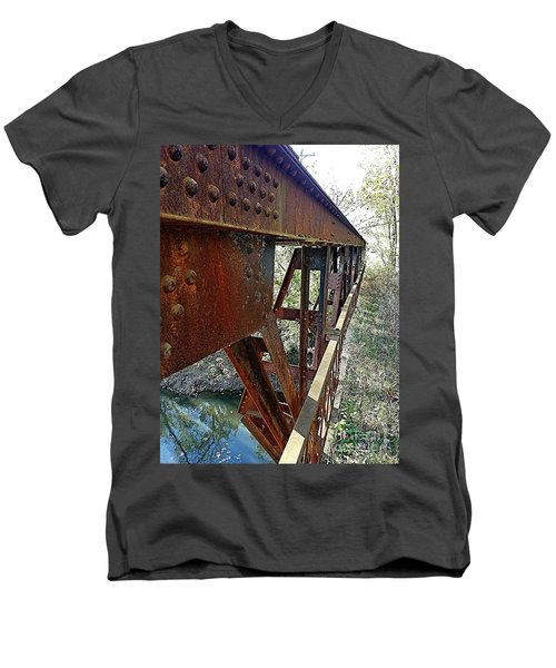Abandoned Steel Bridge Nashville Indiana Men's V-Neck T-Shirt