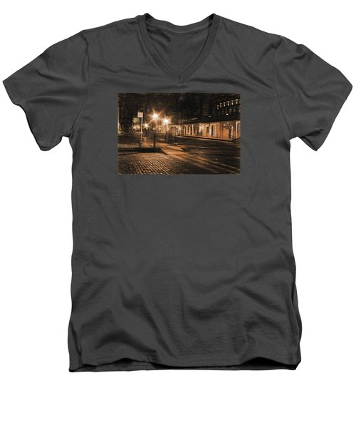 Abandoned Street Men's V-Neck T-Shirt by Michael Cleere