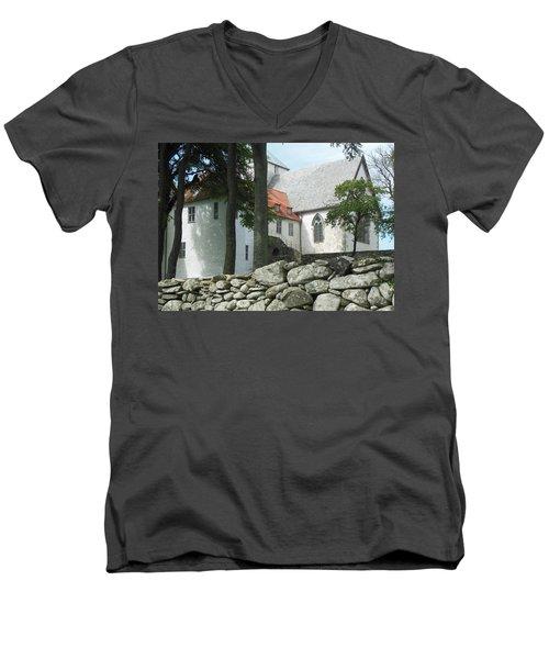 Abbey Exterior #2 Men's V-Neck T-Shirt by Susan Lafleur