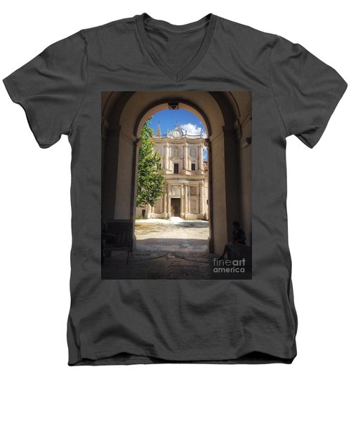 Abbey Of The Holy Spirit At Morrone In Sulmona, Italy Men's V-Neck T-Shirt