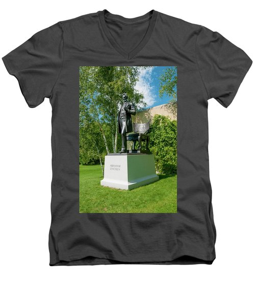 Men's V-Neck T-Shirt featuring the photograph Abe Hanging Out by Greg Fortier