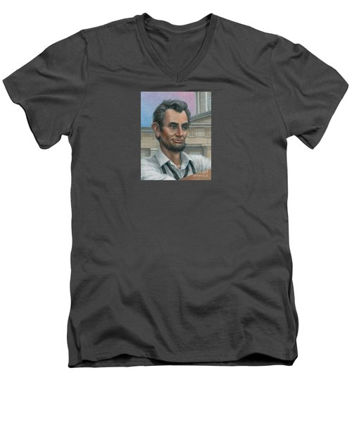 Men's V-Neck T-Shirt featuring the painting Abe's 1st Selfie - Detail by Jane Bucci