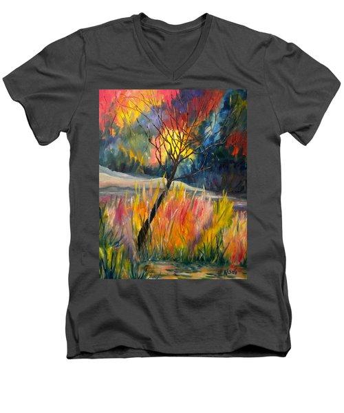 Ablaze Men's V-Neck T-Shirt by Renate Nadi Wesley