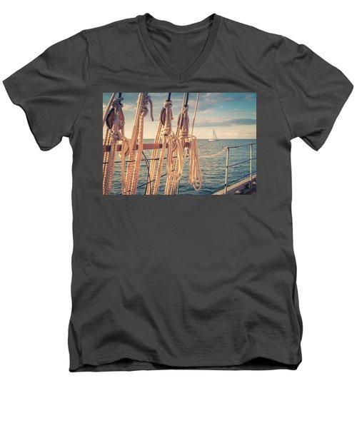 Aboard The Edith M Becker Men's V-Neck T-Shirt