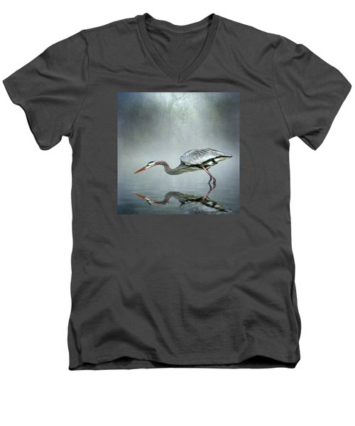 Men's V-Neck T-Shirt featuring the photograph About To Strike by Brian Tarr
