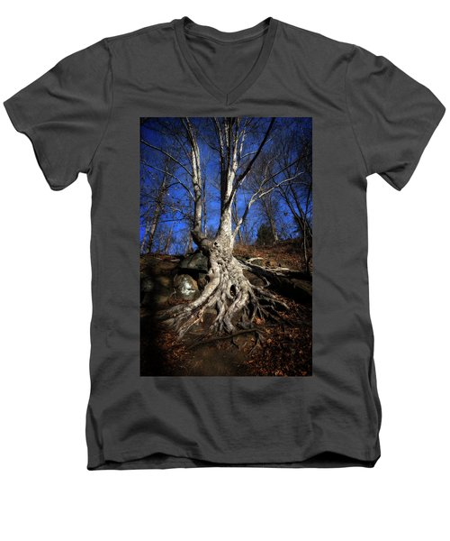 Men's V-Neck T-Shirt featuring the photograph Above Ground by Alan Raasch