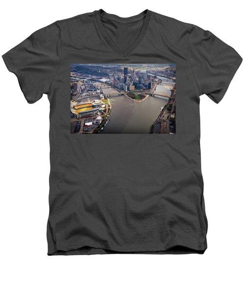 Above Pittsburgh In  Color  Men's V-Neck T-Shirt