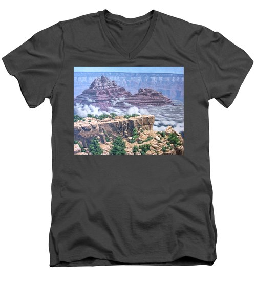 Above The Clouds Grand Canyon Men's V-Neck T-Shirt by Jim Thomas