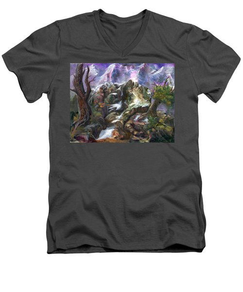 Men's V-Neck T-Shirt featuring the painting Above The Timberline by Sherry Shipley