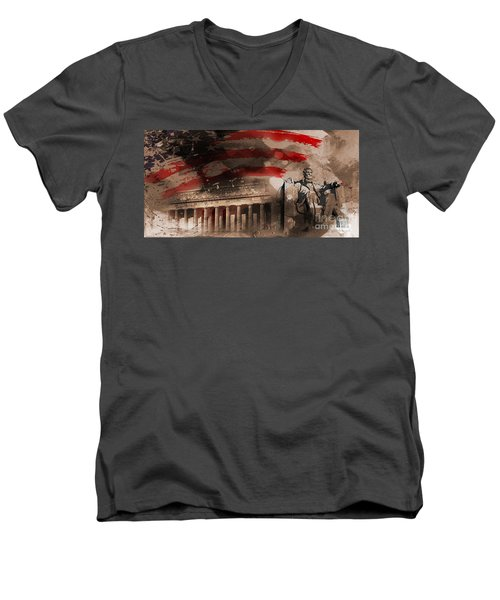 Men's V-Neck T-Shirt featuring the painting Abraham Lincoln by Gull G