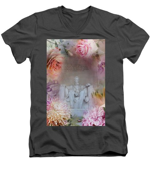 Abraham Lincoln Memorial At Spring Men's V-Neck T-Shirt by Marianna Mills