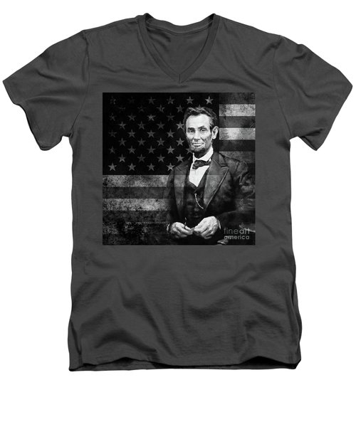 Abraham Lincoln With American Flag  Men's V-Neck T-Shirt by Gull G