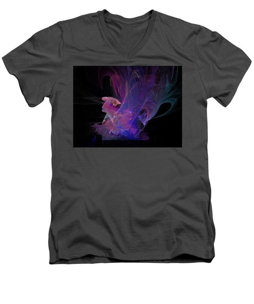 Abstact Pink Swan Men's V-Neck T-Shirt by Tamara Sushko