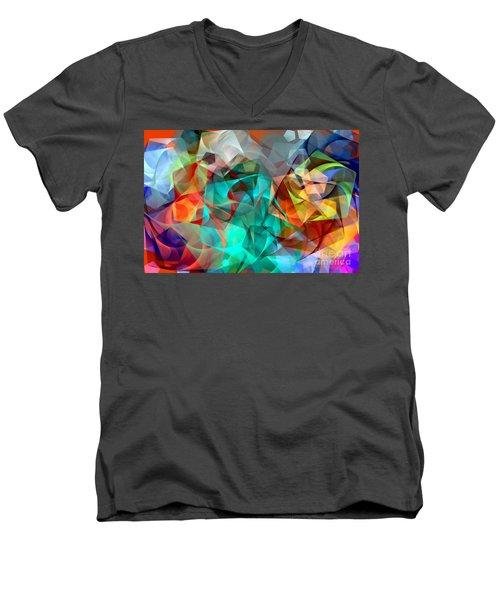 Men's V-Neck T-Shirt featuring the digital art Abstract 3540 by Rafael Salazar