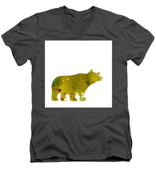 Abstract Acrylic Painting Bear II Men's V-Neck T-Shirt by Saribelle Rodriguez